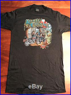 VINTAGE 1987 American Biker Rebel Country Harley T-Shirt, 3-D Emblem, Size L