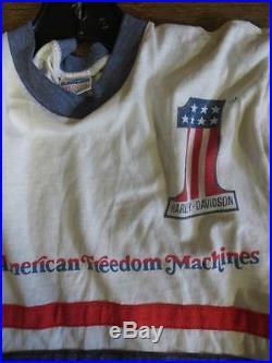 Vintage 70's Harley Davidson #1 American Freedom Machines Dealer T Shirt Med Nr