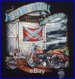 VINTAGE 80's THE SOUTH 3D-EMBLEM HARLEY-DAVIDSON MOTORCYCLES REBEL T-SHIRT XL