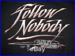 VINTAGE 80s HARLEY DAVIDSON MOTORCYCLES 3D EMBLEM T SHIRT FOLLOW NOBODY xl