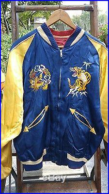 Vintage Japan Souvenir Embroidered Silk Bomber Jacket Sukajan