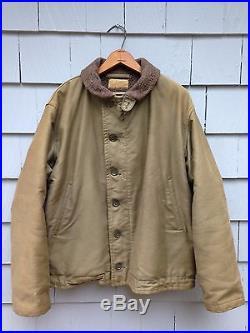 Vintage Wwii Us Navy Officers N-1 Deck Jacket Men's Size 46 Ww2 Usn Military XL