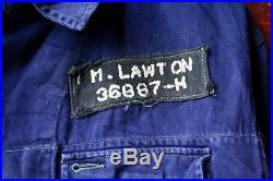 VTG 50s 60s BRITISH AMERICAN BLUE COTTON PRISON INMATE UNIFORM JACKET 42