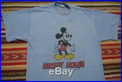 VTG 70's Tropix Togs Mickey Mouse Double Sided T-Shirt 50/50 Blend Thin Blue EUC