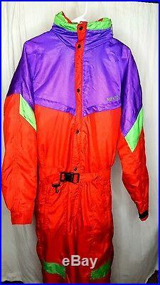 VTG 80s 90s Neon NEVICA Survival Mens M SKI Snow SUIT Snowboard Bib One Piece 40