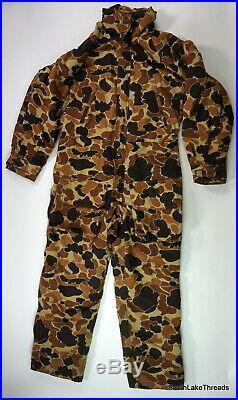 VTG Columbia Duck Camo Hunting Snow One Piece Suit 3/4 Zip Snap Sz Men's Large