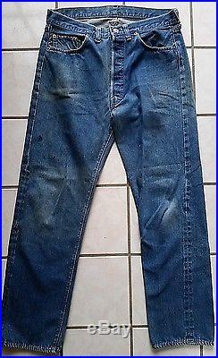 Vtg Levis 501 Jeans Indigo Selvedge Redline Single Stitch #6