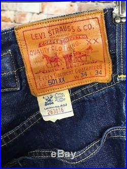 VTG Levi's 501XX Jeans 34 x 34 Button Fly LVC Original Buckle Backs
