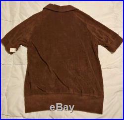 VTG NEW NOS 60s 70s Men SZ M Kennington CIGAR LOUNGE Terry Cloth v-neck Shirt