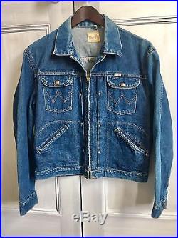 Very Rare Vintage 1960s Zip-Thru Wrangler 24MJZ Denim Jacket Size 40