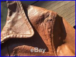 Vintage 1930s Californian Leather Jacket Buckle Back Talon Sunburst Zipper