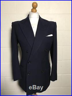 Vintage 1930s Navy Blue Double Breasted Suit Size 38