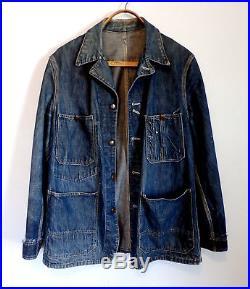 Vintage 1940s 1950s Hercules Denim Chore Work Jacket, Sz 40-42