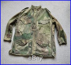 Vintage 1940s British Army Airborne Half Zip Denison Smock Selvedge Twill
