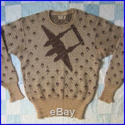 Vintage 1940s WW2 WWII brown Jantzen P38 Fighter Plane Airplane Sweater