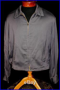 Vintage 1950's Dary Blue Grey Rayon Gabardine Zipper Jacket Size 42