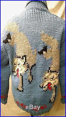 Vintage 1950's Mary Maxim Cowichan Wolf Sweater, Blue, Mens M/L, by Ann Tolleson