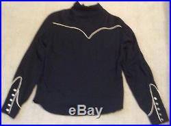 Vintage 1950s Black Western Shirt H Bar C California Ranchwear Sz SMALL Has Wear
