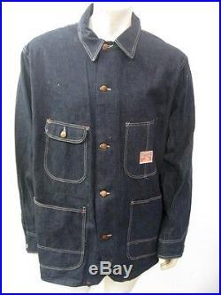 Vintage 1950s Montgomery Ward Pioneer Denim Railroad Chore Jacket Size L/XL