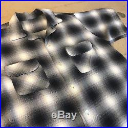 Vintage 1950s Rayon Rockabilly Shirt Plaid M L