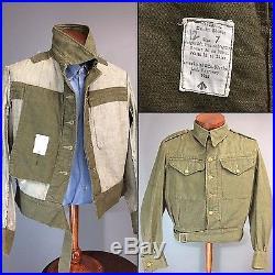 Vintage 1955 50s Denim Overall Battle Dress Blouse British Army Green Jacket Vtg
