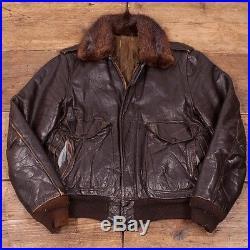 Vintage 1960s Dark Brown Leather Real Fur Collar Flight Jacket Mens 36 S R2990