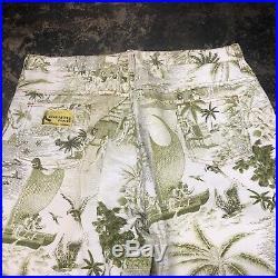 Vintage 1960s Kahala Hawaiian Pop Art Denim Flare Pants Jeans W 34 L 33