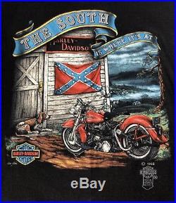 Vintage 1985 Harley Davidson T Shirt 3D Emblem Rare Dixie Rebel South