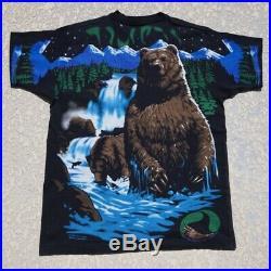 Vintage 1995 Liquid Blue Grizzly Bear All Over Print XL T-Shirt