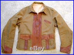 Vintage 30's 40's Leather trim twill Jacket Talon deco zipper norfolk riders