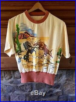 Vintage 40's-50's Gaberdine Rayon Wild Horses Printed Pullover Collectable Shirt