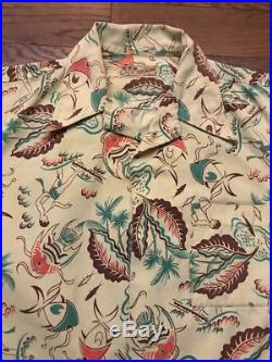 Vintage 40s Sea Island Sportswear Hawaiian Surf/ Fish Drapery Shirt Medium