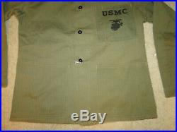 Vintage 40s WWII USMC US MARINE CORPS P44 HBT Herringbone Trousers jacket