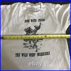 Vintage 60s 70s T Shirt Ride With Pride Wild Sweet Warriors Cowboy Horse Sz M