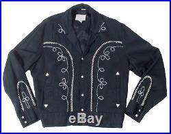 Vintage 60s H Bar C Black Rayon Gabardine Ricky Jacket White Embroidery M HBarC