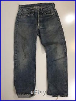 Vintage 60s Levis 501 Selvedge Red Line Denim Blue Jeans Big E hidden rivets