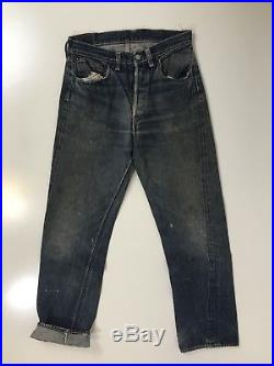 Vintage 60s Levis 501 Selvedge Red Line Denim Jeans Big E hidden back rivets