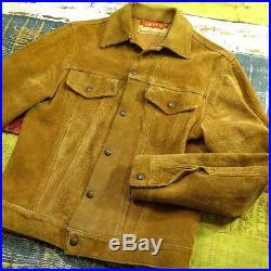 Vintage 60s Levis Suede Jacket Mens XS Big E Black Tab Trucker
