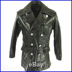 Vintage 60s Philadelphia Police Leather Coat Mens 38 Deadstock Black Jacket