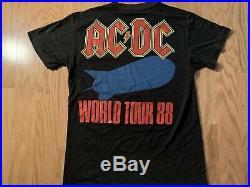 Vintage 80's 1988 AC/DC Blow Up Your Video World Concert Tour T-Shirt S/M