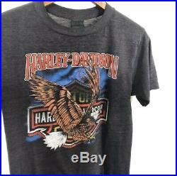 Vintage 80s 3D Emblem Harley Davidson 50/50 Memphis TN Eagle T Shirt Size S RARE