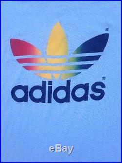 Vintage 80s Adidas Rainbow Trefoil T Shirt Lite Beer Macko Run TX