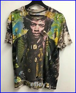 Vintage 90's Jimi Hendrix Mosquitohead bleach Hanes rock punk t-shirt rare XL
