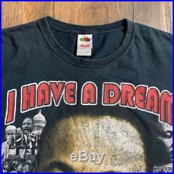 Vintage 90's Martin Luther King Jr. MLK Black Power Distressed Rap Tee Sz XL