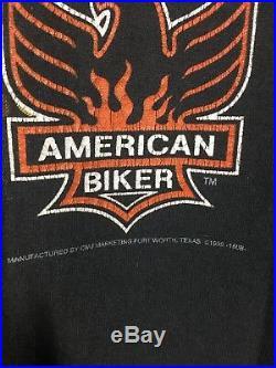 Vintage American Biker Harley T Shirt 3D Emblem Sturgis Indian Skull VTG XL
