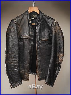 Vintage BROOKS GOLD Label Cafe Racer Steerhide Leather Jacket 60s Patina 36