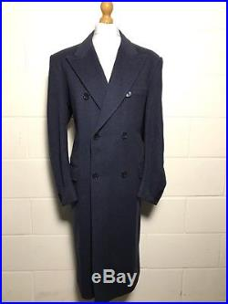 Vintage Bespoke Blue Double Breasted Overcoat Size 44 Long