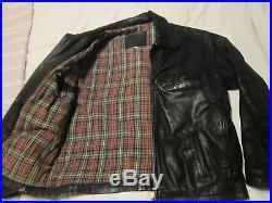 Vintage Black Leather Highwayman Jacket, Large, Checked Blanket Lining, Rockabilly