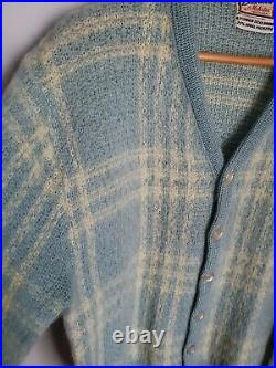 Vintage Brentwood Mohair Cardigan Cobain Sweater Grunge Fuzzy Men's Medium Blue