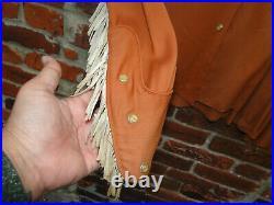Vintage Brown GABARDINE Western Shirt Rockabilly 50s Sz L WOMENS